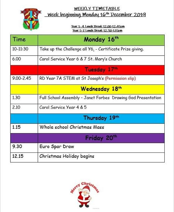 Week beginning Monday 16th December