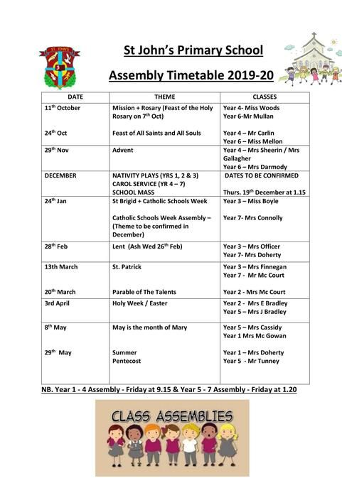 Parent Assembly Timetable