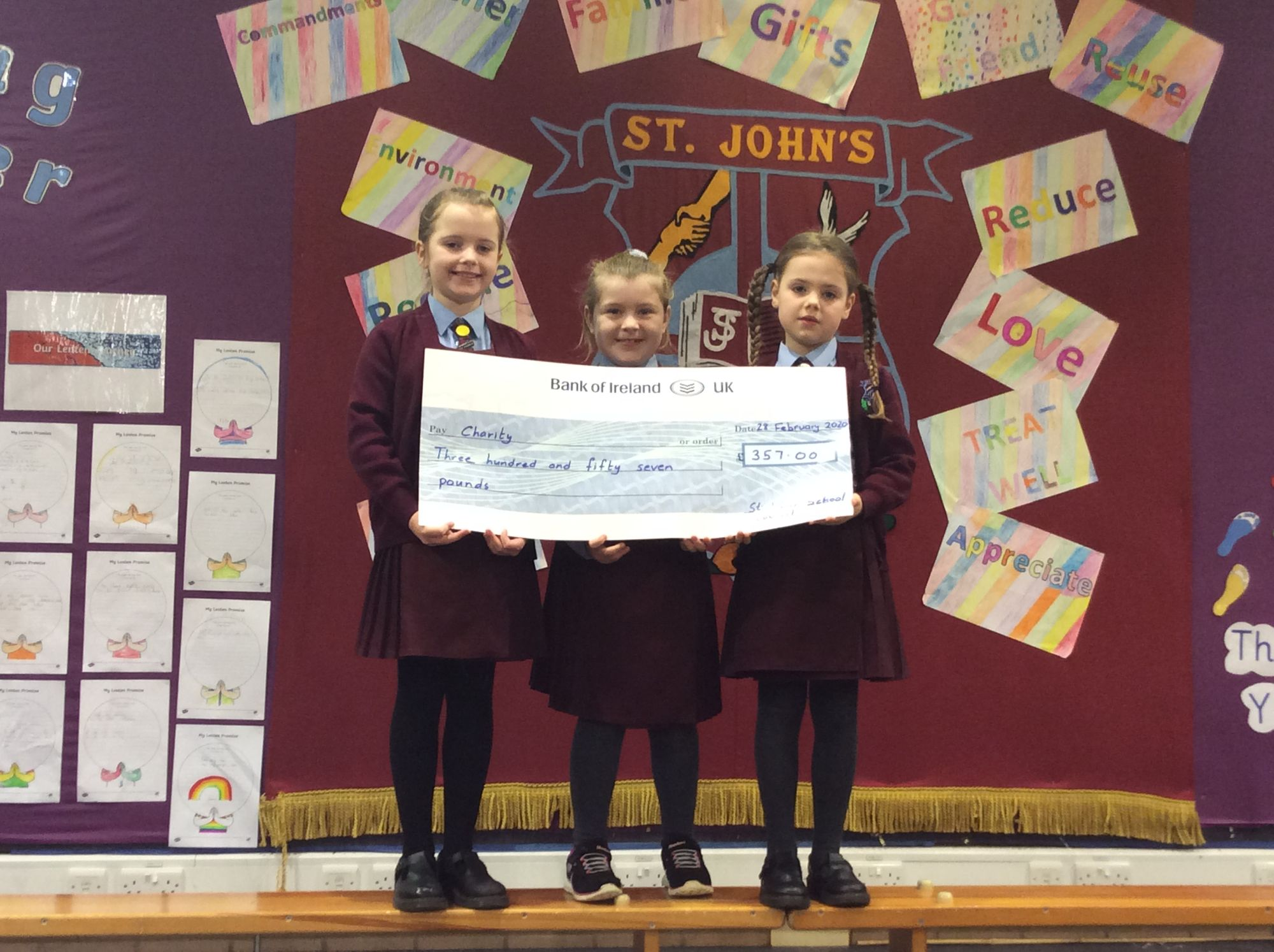Faye, Farrah and Mia presented Mrs O'Connor with a cheque for charity with funds raised from or recent Valentine's Day Event.