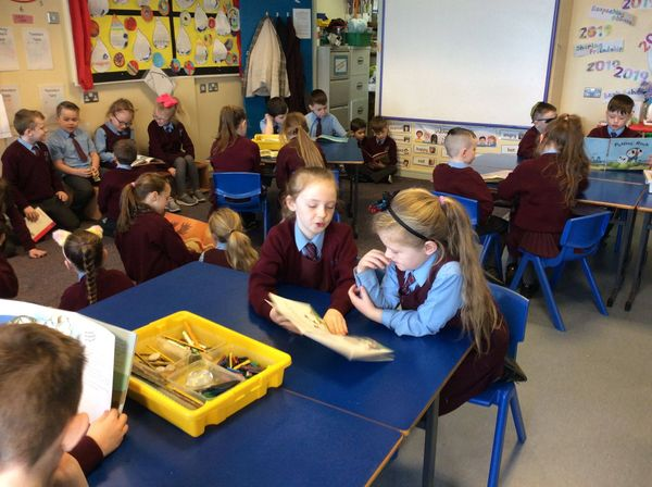 Mrs Bradley's Year 5B class visited Mrs Finnegan's 3C class today to read them some stories