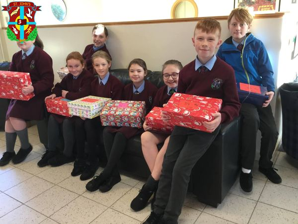 Our shared council, all packed up and ready to take the shoe boxes over to Lisnagelvin Primary School.