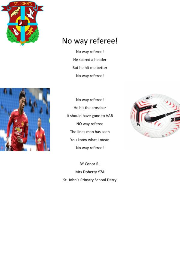 Some fabulous football poetry from Year 7A